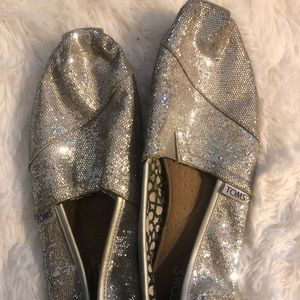 Silver sparkly TOMS